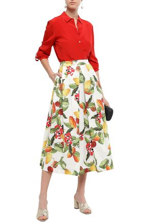 ISOLDA Rio printed stretch-cotton poplin midi skirt