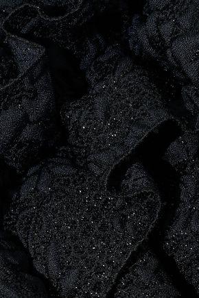 LANVIN Ruffle-trimmed metallic cloqué skirt