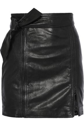 J BRAND Christa zip-detailed leather mini skirt