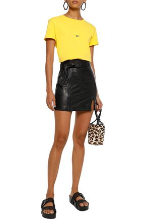Christa zip-detailed leather mini skirt | J BRAND | Sale up