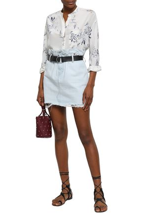 IRO Belted distressed denim mini skirt