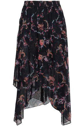 IRO Liliespe asymmetric floral-print georgette midi skirt