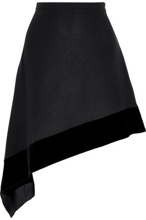 LANVIN Asymmetric velvet-trimmed silk-crepe mini skirt