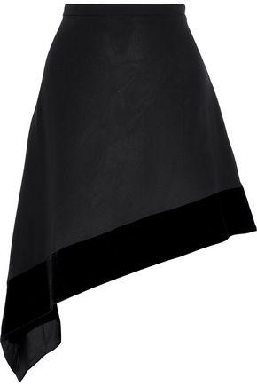 LANVIN Asymmetric velvet-trimmed silk-crepe mini skirt