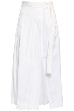 JOSEPH Miles pleated cotton-poplin midi wrap skirt