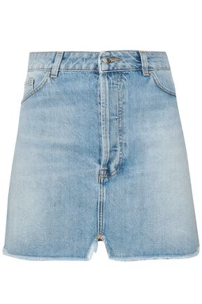 IRO Frayed distressed denim mini skirt