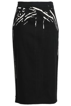 PRADA Printed cotton-blend gabardine midi pencil skirt