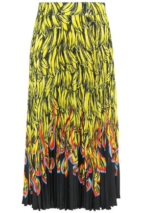 PRADA Pleated printed twill midi skirt
