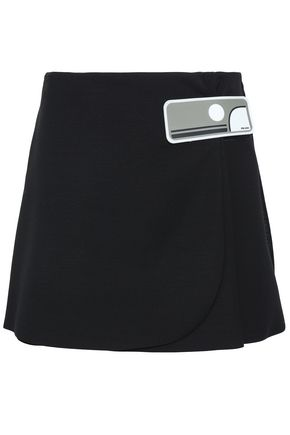 PRADA Appliquéd wool mini wrap skirt