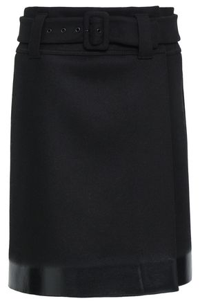 PRADA Appliquéd wool-felt wrap skirt