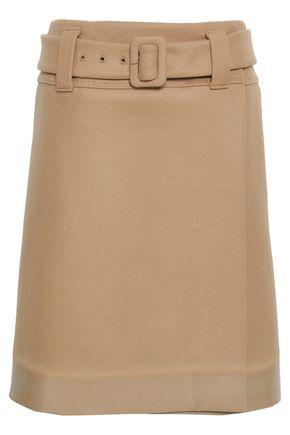 PRADA Appliquéd wool-felt wrap skirt
