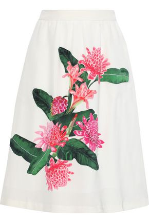 ISOLDA Elisa floral-print silk crepe de chine skirt