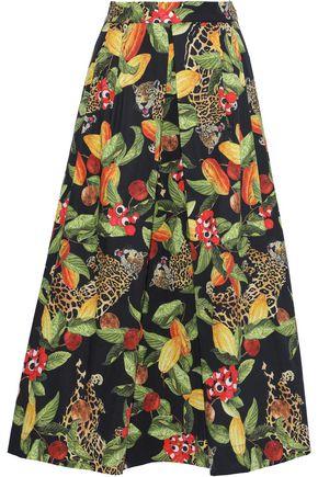 ISOLDA Rio pleated printed cotton-blend poplin midi skirt