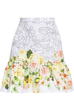 ISOLDA Ruffled floral-print cotton-blend mini skirt