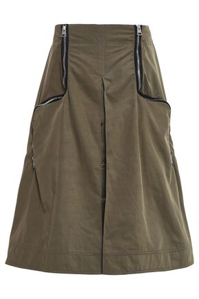 J.W.ANDERSON Zip-embellished button-detailed shell midi skirt