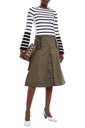 Jw Anderson J.W.Anderson Woman Zip-Embellished Button-Detailed Shell Midi Skirt Army Green