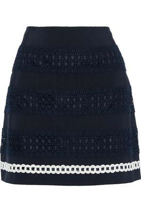 ALBERTA FERRETTI Cotton-blend grosgrain and guipure lace mini skirt