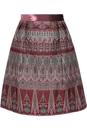 ALBERTA FERRETTI Velvet-trimmed pleated metallic brocade skirt