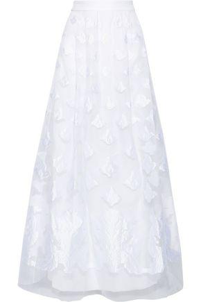 ALBERTA FERRETTI Flared fil coupé organza maxi skirt