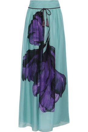 ALBERTA FERRETTI Bow-detailed floral-print silk-chiffon maxi skirt