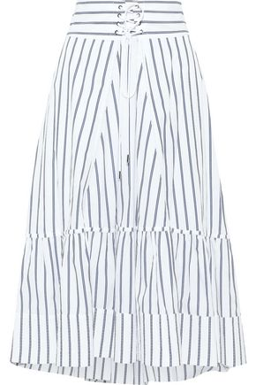 3.1 PHILLIP LIM Lace-up striped cotton-poplin midi skirt