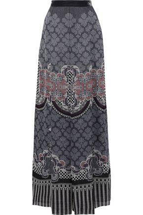 ALBERTA FERRETTI Velvet-trimmed printed silk maxi skirt
