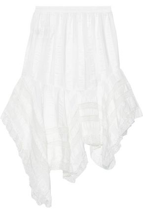 PHILOSOPHY di LORENZO SERAFINI Asymmetric lace-trimmed striped crinkled-satin skirt