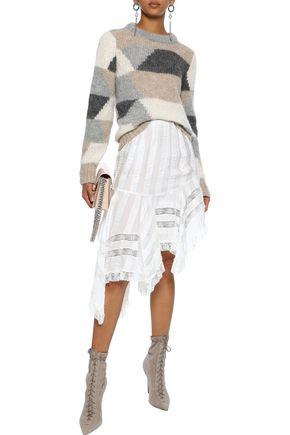 PHILOSOPHY di LORENZO SERAFINI Asymmetric lace-trimmed striped crinkled-satin skirt