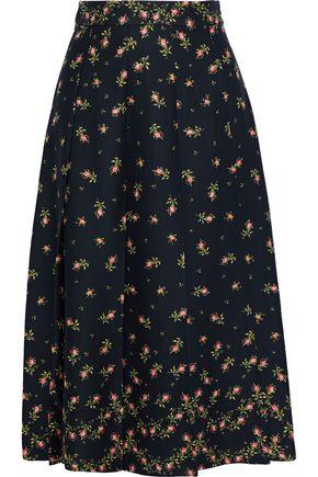 PHILOSOPHY di LORENZO SERAFINI Pleated floral-print crepe midi skirt