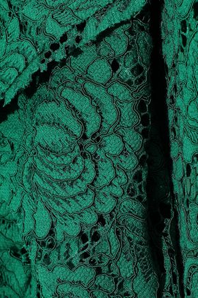 PHILOSOPHY di LORENZO SERAFINI Split-front ruffled cotton-blend corded lace midi skirt