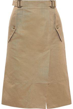 ALBERTA FERRETTI Cotton and linen-blend gabardine skirt