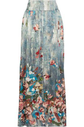 ALBERTA FERRETTI Pleated printed silk-satin maxi skirt