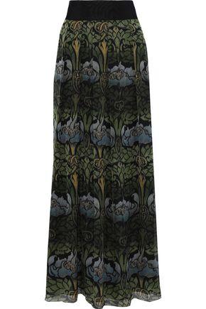 ALBERTA FERRETTI Grosgrain-trimmed floral-print silk-chiffon maxi skirt