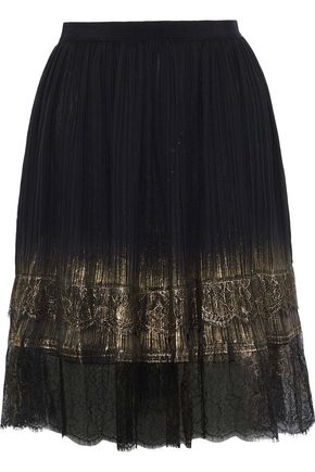 ALBERTA FERRETTI Metallic lace-trimmed plissé-georgette mini skirt