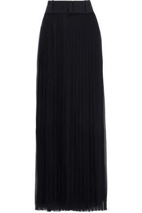 ALBERTA FERRETTI Belted pleated silk-chiffon maxi skirt