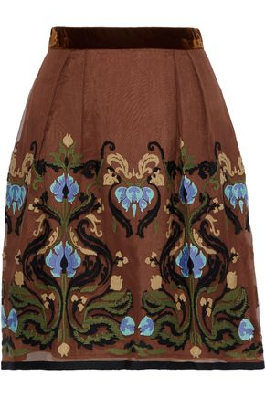 ALBERTA FERRETTI Velvet-trimmed embroidered organza mini skirt