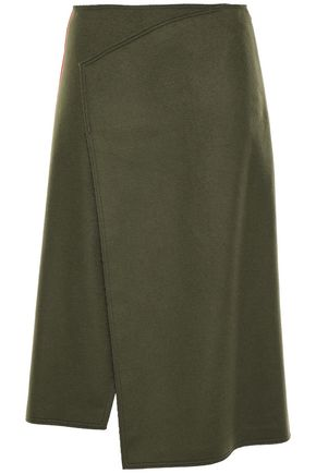 JOSEPH Wrap-effect wool and cashmere-blend felt skirt