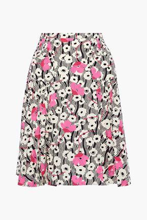 VALENTINO Pleated floral-print silk crepe de chine skirt