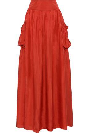 ALBERTA FERRETTI Gathered silk-satin maxi skirt