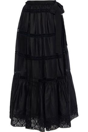 ALBERTA FERRETTI Guipure lace-paneled cotton-blend maxi skirt