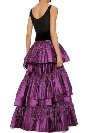ALBERTA FERRETTI Tiered ruffled linen-blend satin-twill maxi skirt