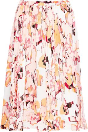 DONNA KARAN Pleated printed crepe de chine skirt