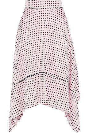 DONNA KARAN Fluted polka-dot crepe de chine skirt