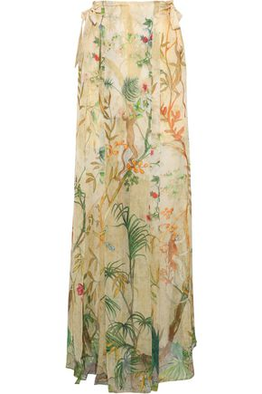 ALBERTA FERRETTI Bow-detailed printed silk-chiffon maxi skirt