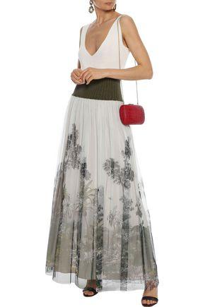5bb7b4d9be ALBERTA FERRETTI Ribbed knit-paneled printed tulle maxi skirt