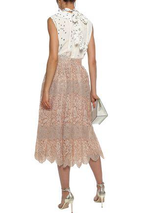 VALENTINO Metallic lace midi skirt