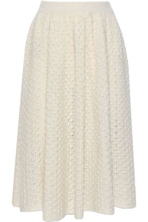 JIL SANDER Crocheted mohair and silk-blend midi skirt