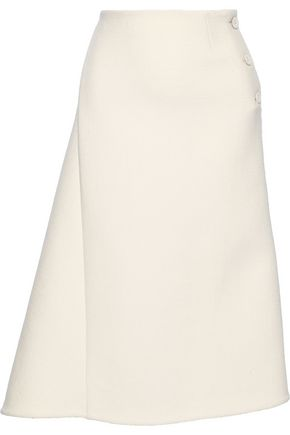 JIL SANDER Asymmetric wool-blend felt midi skirt