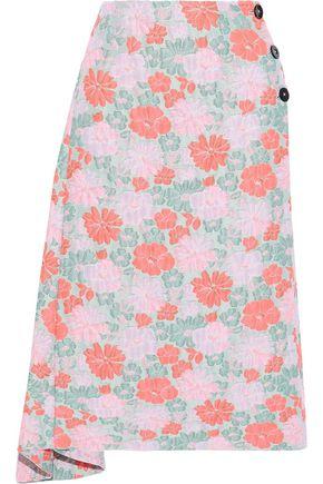 JIL SANDER Asymmetric floral-jacquard midi skirt
