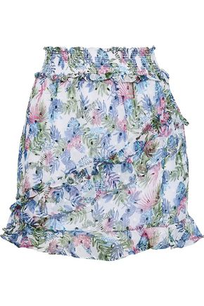 W118 by WALTER BAKER Dobby ruffle-trimmed floral-print fil coupé gauze mini skirt